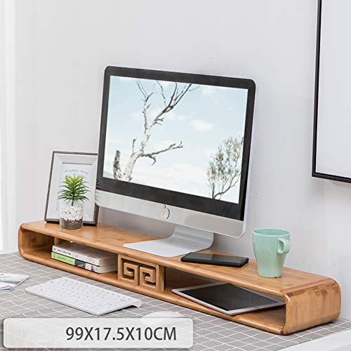 GX&XD Verdicken sie Bambus Bildschirmständer,Computer Booster-Basis Multimedia Notebookständer Mit robusten Multi-funktionale Schreibtisch Organizer Monitorständer-E - Glas-funktionale Computer-schreibtisch
