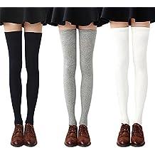 e45a99c2b42 Chalier 3 paires Chaussettes Hautes Montantes Femme Chaussettes de Genoux  Longues Style Simple