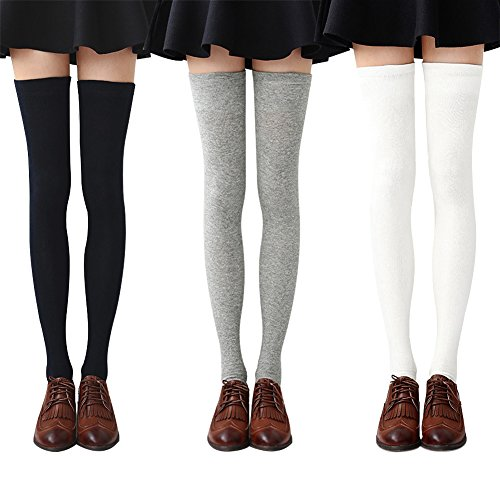 Chalier 3 Paar Damen Lange Gestreifte Socken über Knie Oberschenkel Hohe Socken Strumpf MEHRWEG