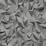 P&S Times - Tapete 3D Effekt Dreieck Muster Geometrische Texturierte Vlies Tapete - Grau Silber 42097-40