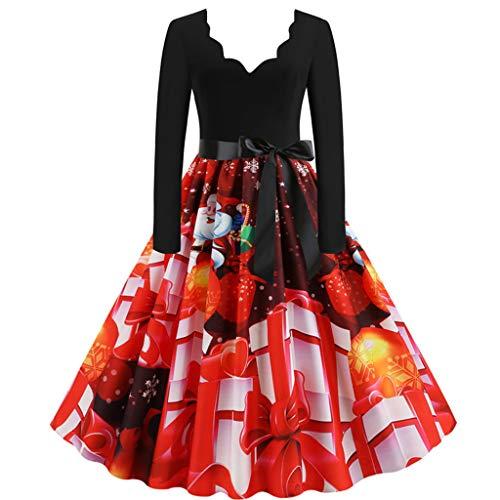 Maleya Weihnachten Kleid Frauen Langarm Weihnachten Musical Notes Print Vintage Flare Kleid Weihnachtskleid Zuckerstangen Kleid mit Pailetten und Plüsch Baby Blumen Langarm Baumwolle Kleid