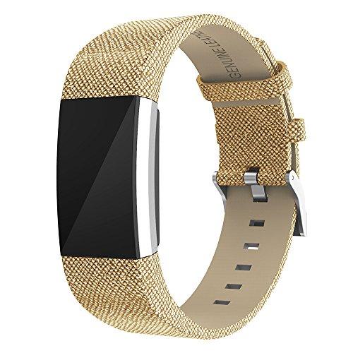 """Zeehar Ersatz-Armband für Fitbit Charge 2 aus Echtem Leder für Fitbit Charge 2 Fitness-Armband, Gold, 5.5""""-8.1"""""""