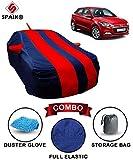 #8: Spaiko Car Body Cover for Hyundai Elite I20 Red & Blue with Mirror Antenna Pocket, Storage Bag & Microfiber Glove Combo