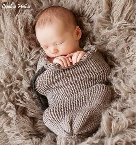 Creative Mère Noël sac de couchage Cocoon pour nouveau-né garçon fille coton en tricot crochet Photographie Prop (gris)