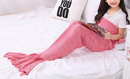 Icegrey für Kinder Meerjungfrau Decke Kinder Gestrickte Schlafsack Sofa Falbala Meerjungfrau Schwanz Wolldecke Rosa 140x70