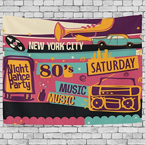 ALAZA New York City Night Music Dance Party Thema Note Grammofon Wandteppich für Polyester-Artwork Leichtes-Cottage Wohnheim Art Wand Home Dekoration 152,4 x 101,6 cm, Textil, mehrfarbig, 60x40(in) (City Party Themen Party)