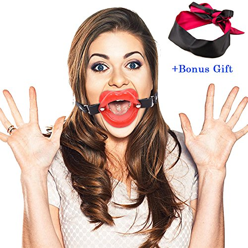 Imixcity Smile Trainer Silicone Tappi Orali Mouth Gag Sexy Giochi per Adulti con Blindfold (Rosso (with Blindfold))