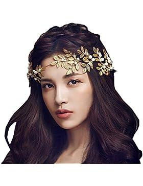 Bella novia princesa corona diadema con forma de hoja para boda fiesta