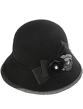 Cappello Cloche Cappello di Bucket Donna Ragazze Signorina Retrò Elegante Fiore Autunno Inverno Lana Cappello...