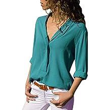Sunyywill Chemises à Manches Longues pour Femmes, Chemise Boutonnée à col Rabattu