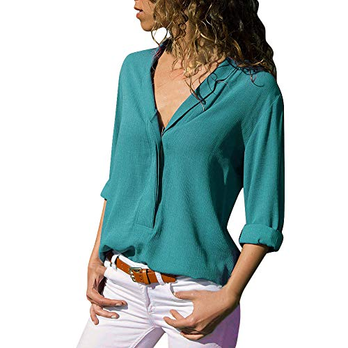 ITISME FRAUEN BLUSE Damen Casual Langarm FarbblockFrauen Langarm-T-Shirt mit V-Ausschnitt (XXX-groß, Grün1)