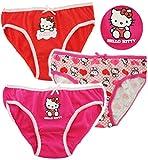 3 TLG. Slip / Unterhosen -  Katze - Hello Kitty  - Größe 4 bis 5 Jahre - Gr. 110 bis 116 - 100 % Baumwolle - Mädchenslip / Unterwäsche - für Kinder Pants Un..