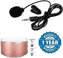 Drumstone Mini Clip-on 3.5mm Neck Microphone with Wireless Super Bass Mini-Metal Aluminium Alloy Speaker(Multicolour,Microphone+P10.Spkrs_1)