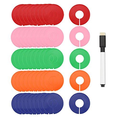 Naisidier 50piezas divisores de talla ropa coloré armario blanco plástico con 1marcador