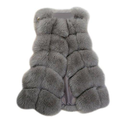 MIOIM® Damen Jacke Kunstfur Warm Winterjacke Weste Faux Pelz Lang Felljacke Oberteile