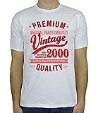 My Generation Gifts 2000 Vintage Year - Aged to Perfection - 18. Geburtstag Geschenk T-Shirt für Herren Weiß Rot L