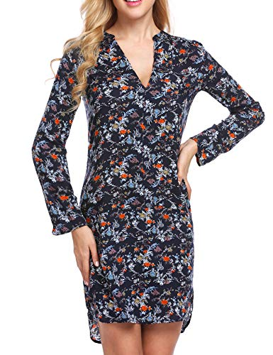 Zeagoo Damen-T-Shirt mit Langen Ärmeln und Blumenmuster, Knielang, S-XXL - blau - XX-Large -