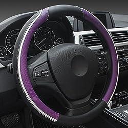 Xuanmax Universal Mikrofaser Leder Lenkradbezug Atmungsaktiv Fahrzeug Lenkradhulle Anti-rutsch Lenkradschoner Auto Lenkrad Abdeckung Lenkradabdeckung Steering Wheel Cover 38cm - Lila