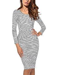 41d481052887 DJT FASHION Damen Elegant Gestreiftes Kleid Jerseykleid Figurbetontes  Streifenkleid Etuikleid Knielang