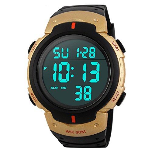 TOPCABIN 50M Wasserdichte Schwimmen Sportuhr Jungen Mädchen Led Digital Uhren für Männer Frauen Gummibügel Gold (Gold Runde Schaltfläche)