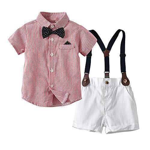 CARETOO Baby Jungen Bekleidungssets Kleidung Set Streifen Shirt + Hose Baby Fliege Anzug für Baby Geburtstagsparty Kleid (Ausgefallene Kleider Für Babys)
