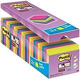 Post-it 654SE24P Haftnotiz Super Sticky Notes Promotion (24 Blöcke à 90 Blatt, 76 x 76 mm) neonorange/grün/ultrapink/blau