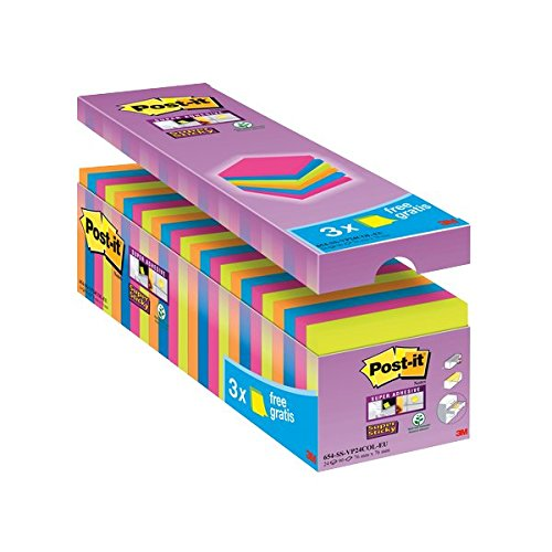 post-it-76-x-76-mm-value-pack-super-sticky-notes-assorted-colours-pack-of-24