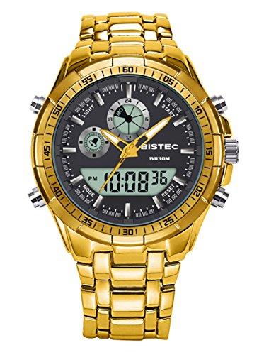 BISTEC–Reloj digital analógico hombre acero inoxidable con Mode Sport, pulsera dorada