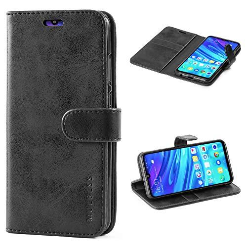 Mulbess Handyhülle für Honor 10 Lite Hülle, Leder Flip Case Schutzhülle für Huawei P Smart 2019 / Honor10 Lite Tasche, Schwarz