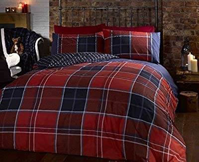 Argo Double Bed Size Red Burgundy Blue White Classic Checked Tartan Stripe Reversible Duvet Cover Quilt Bedding Set Hallways ® produced by Sold by Hallways - quick delivery from UK.