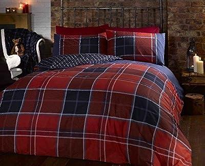 Argo Double Bed Size Red Burgundy Blue White Classic Checked Tartan Stripe Reversible Duvet Cover Quilt Bedding Set Hallways ® - inexpensive UK light shop.