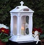 ♥ Grablaterne Grablampe Keramik 30,0cm Weiss Glas Kreuz mit Grabkerze Grableuchte Grablicht Laterne Grabschmuck Kerze Garten Friedhof