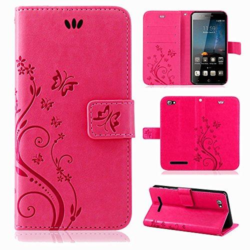 betterfon Flower Case Handytasche Schutzhülle Blumen Klapptasche Handyhülle Handy Schale für ZTE Blade A612 Pink