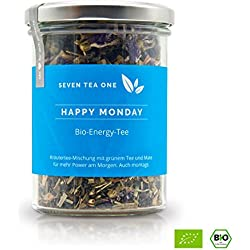 Happy Monday Bio Energy Tee mit viel Koffein & Energie, die gesunde Alternative zu Kaffee, 100% biologisch mit Mate & Guarana, 100g, Made in Germany
