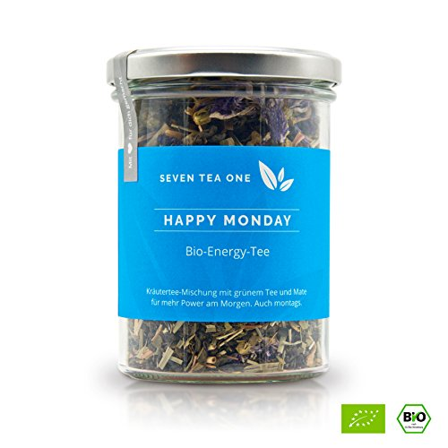 Happy Monday Bio Energy Tee mit viel Koffein & Energie, die gesunde Alternative zu Kaffee, 100{dedc6034221ab2eaa9b55a7d4a4135d50b28471602bfb40d0948ebb9387e4bde} biologisch mit Mate & Guarana, 100g, Made in Germany