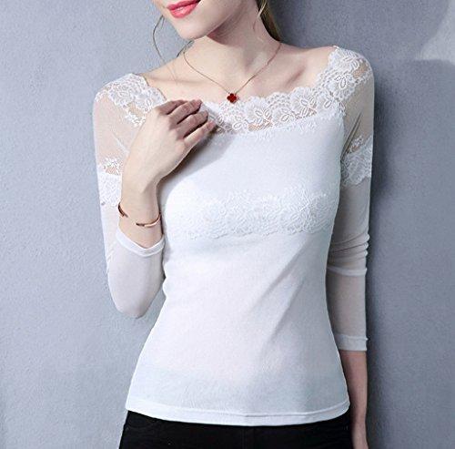 Smile YKK Chemise Epaule Nue Femme Dentelle Tulle T-shirt Manche Longue Top Blouse Pull Mode Blanc