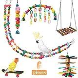 Powerking Giocattoli pappagallo, uccello appeso scala in legno e amaca per uccelli Masticare posatoi Gabbia Finch Giocattolo con campane