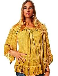 Moda Italia túnicas de mujer blusa 7/8Pobres algodón loin emitidos Fit Top Carmen Blusa Hippie estilos