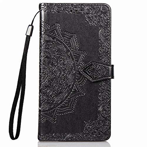 YKTO Hülle für Sony Xperia XZ3 2018 Handyhülle Leder Flip Case Magnet Kunstleder Geldbörse Standfunktion Schutzhülle 360 Stoßfest Cover Premium Mandala Prägen Einfarbige Schwarz