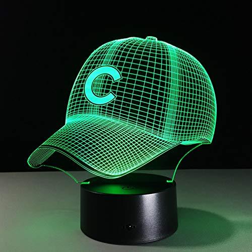 OEWFM 3D Nachtlicht 7 Farbwechsel Hip Hop Baseball Team Cap LED Illusion Nachtlicht USBV Batterie Baseball Hut Dekor Birne visuelle Lampe