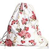HITOP Harajuku Vintage Lightweight Floral Drawstring Canvas Rucksack Bags, Cute Ladies Women Bag, Backpack For School Youth Teenage Girls Gym Sport