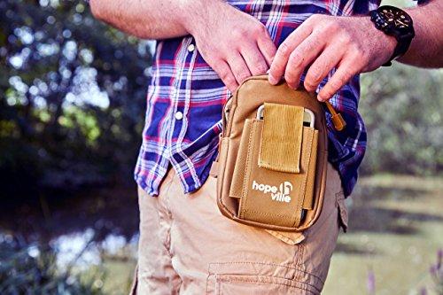 HOPEVILLE Hüfttasche mit Moole System, Robuste Bauchtasche für Damen und Herren | Premium Gürteltasche für alle Aktivitäten im Urlaub, Freizeit, Sport, Handwerk und Outdoor (Schwarz) Braun