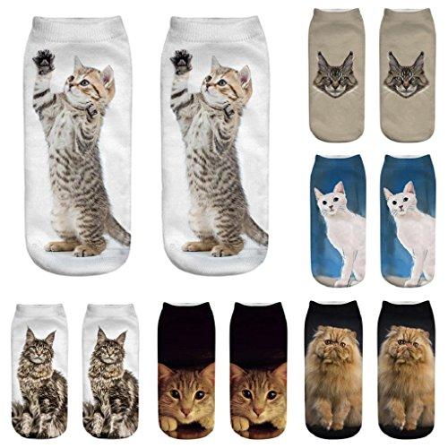 Hirolan Cute Casual Cotton Socks with 3D Printing Cute Cat fantastic gift idea Sports Socks Womens Office Everyday Work Socks ladies novelty fun socks Cotton Socks Thermal Socks Adult Unisex Socks