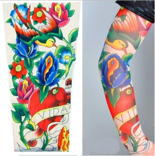 Modell 8 - Wearable Tattoo Ärmel. Fake Tattoo Sleeve Bild Geschrieben von Vida, Herz, Schlucken und Blumen. Halbe Hülsen-Tätowierung Tribal-Kanal.