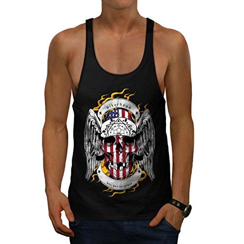 Schädel Motorradfahrer Kopf Gesicht USA Herren M Gym Muskelshirt   Wellcoda (Basketball-gesicht Schild)
