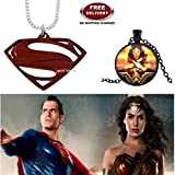 (2 Pcs COMBO SET) - SUPERMAN LOGO (RED) & WONDER WOMAN (BLACK) IMPORTED METAL PENDANTS. LADY HAWK DESIGNER SERIES 2018. ❤ ALSO CHECK FOR LATEST ARRIVALS - NOW ON SALE IN AMAZON - RINGS - KEYCHAINS - NECKLACE - BRACELET & T SHIRT - CAPTAIN A