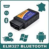 Interface de Diagnostic multimarque ELM327 Bluetooth V1.5 + Logiciel en FR Elm 327 OBD Diagnostique...