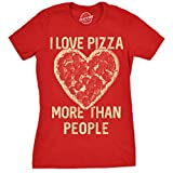 Crazy Dog Tshirts Womens I Love Pizza More Than People Tshirt Funny Foodie Tee for Ladies -L - Damen - L