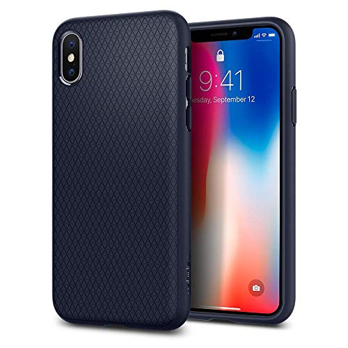 Cover iphone x, spigen [liquid air] custodia iphone x con disegnabilità durevole e design facile per apple iphone x (2017) - midnight blue - 057cs22124