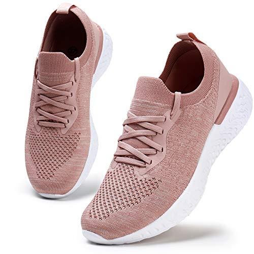 Damen Walkingschuhe Turnschuhe Laufschuhe Sportschuhe Fitness Sneakers Trainers für Running Outdoor Schuhe Pink 42 EU